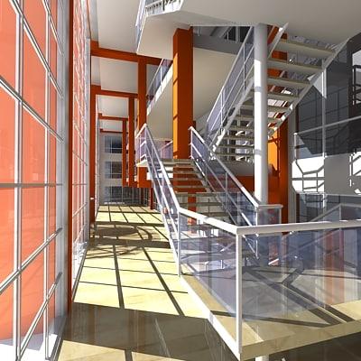 building lobby interior 3d model