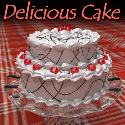 3d model delicious cake cherries