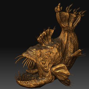 3d deep sea angler fish model