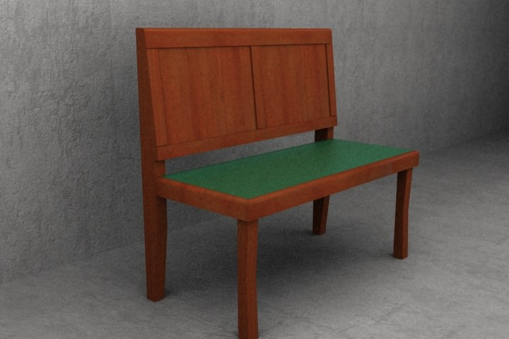 3d 2 seater wooden cafe
