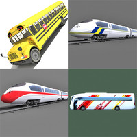 3d model bus school trains