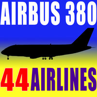 3d airbus a380 44 airline model