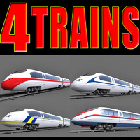 4 speed trains 3d model
