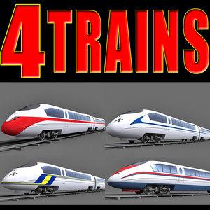 4 speed trains 3d model