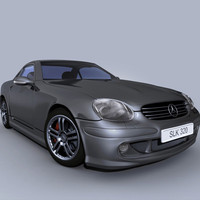 modelled mercedes slk sports car 3d max