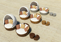 furnitures meshwork rattan 3d model
