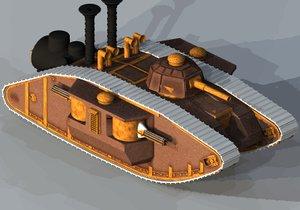 steampunked rhomboid tank 3d obj