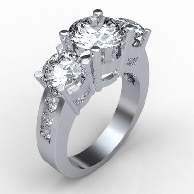 3d platinum diamond ring model