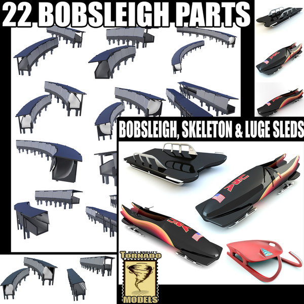 3d bobsleigh track parts sleds
