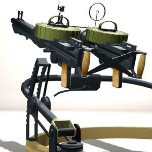 3d model twin 1915 lewis