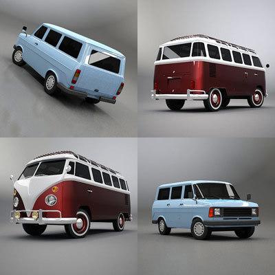 3d model vintage minibus bus