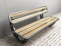 3d retro futuristic bench