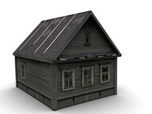low-poly wood house 3d model