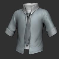button shirt 3d obj