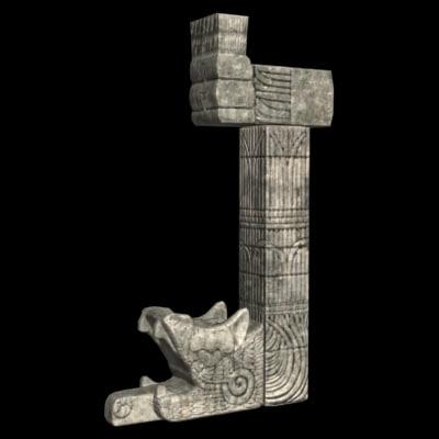 mayan snake column 3d model