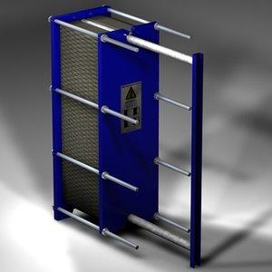 3d model plate heat exchanger