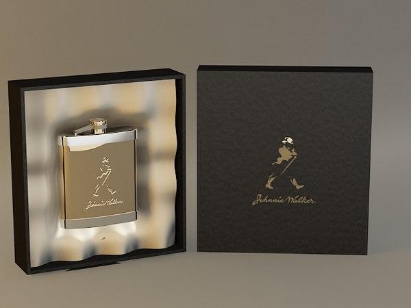 gold hip flask 3d model