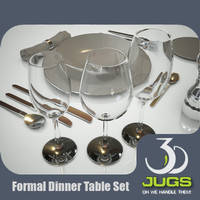 formal dinner table set 3d max