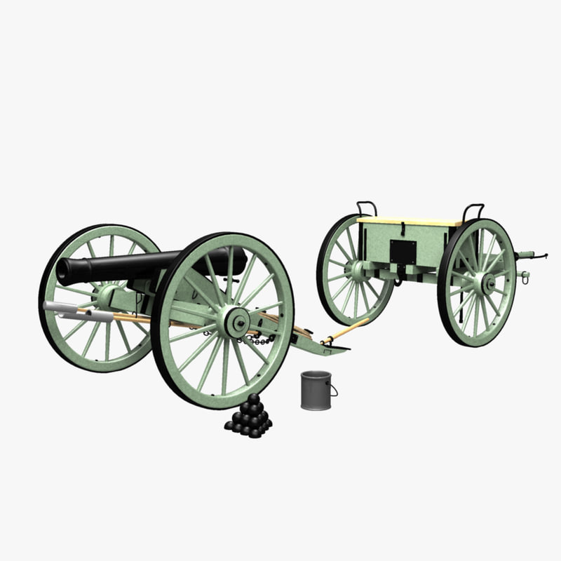 historically civil war cannon 3d model