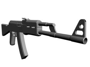 ak74 polies rifle gun 3d 3ds