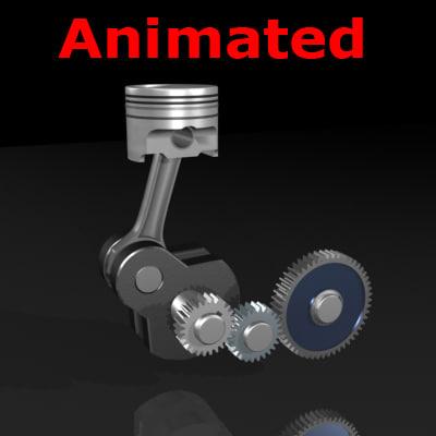 3d piston gears animate crank