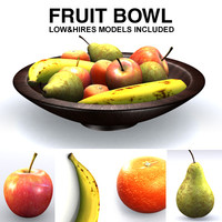 fruits banana mandarin 3d model