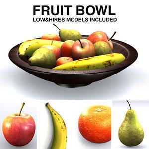 fruits banana mandarin 3d model