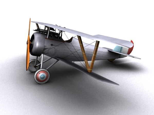 nieuport 24 ww1 biplane 3d model