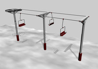 3d model simple ski lift chair