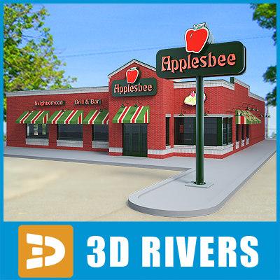 fast food applebee 3d model