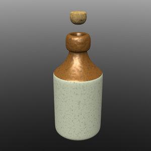 3d model cartoon beer bottle