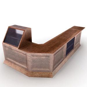 wooden shop counter 3d model