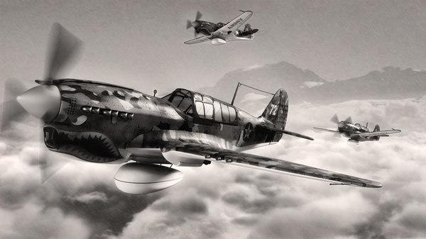 3d model curtiss fighter aircraft