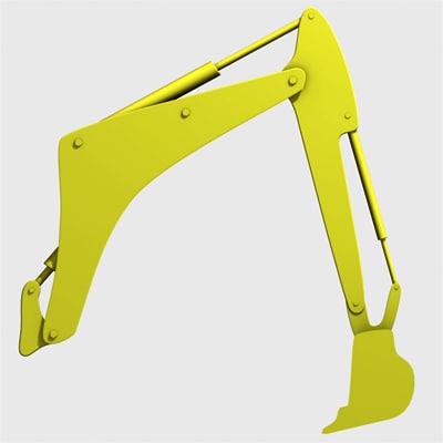 3d model mechanical digger arm