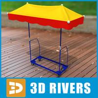 3d model umbrella market stall