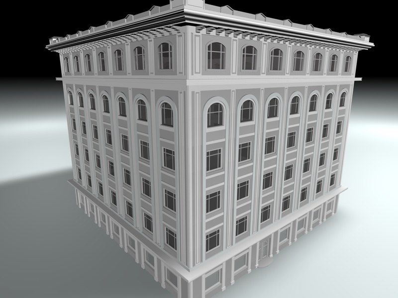 3d old office building loby