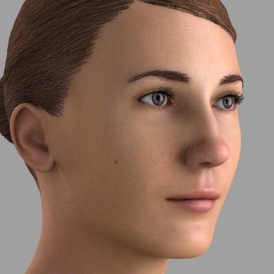 3d realistic female head model