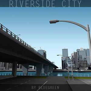 definition city river 3d model