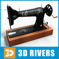 3d model old style singer sewing