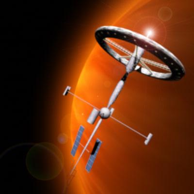 3d spacestation fighter ships space station model
