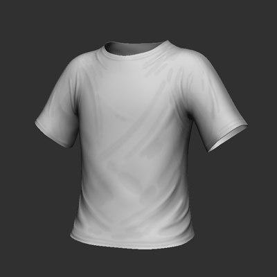 3d model standard white tee shirt