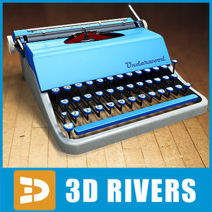 3d typewriters retro offices model