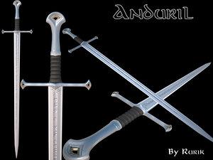3d anduril sword aragorn