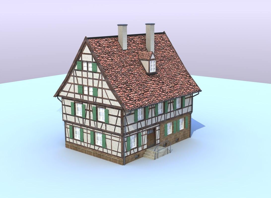 3d model of german farm house for 3d fachwerk