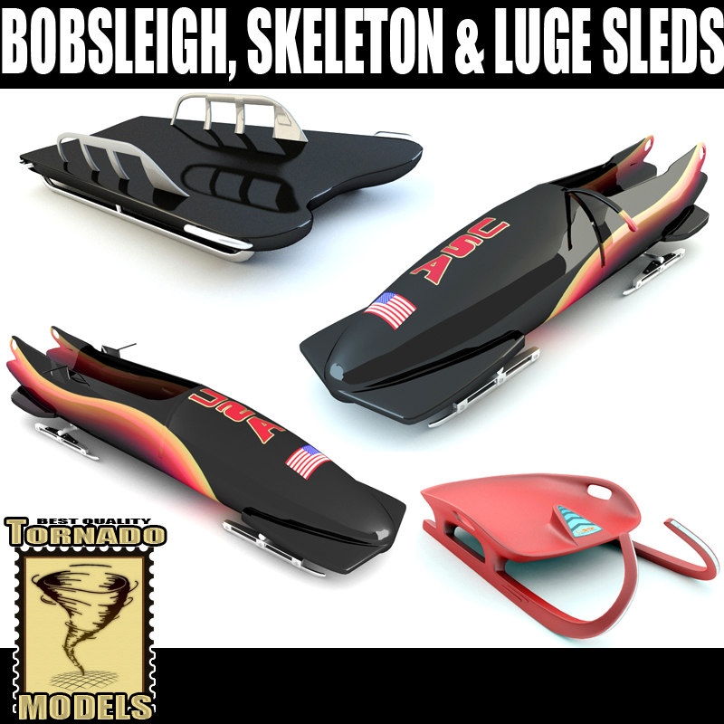 bobsleigh skeleton luge sleds 3d 3ds