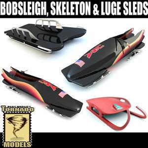 bobsleigh skeleton luge sleds 3d 3ds