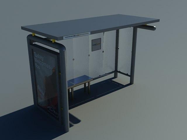 3d model busstop bus stop