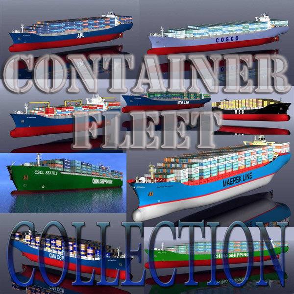 3d container vessels fleet model