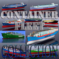 3d container vessels fleet model