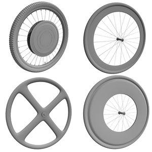3d 4 bike wheels model